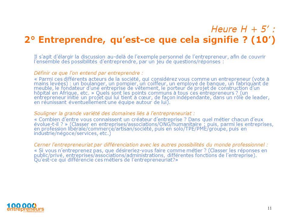 11 Heure H + 5 : 2° Entreprendre, quest-ce que cela signifie ? (10) Il sagit délargir la discussion au-delà de lexemple personnel de lentrepreneur, af