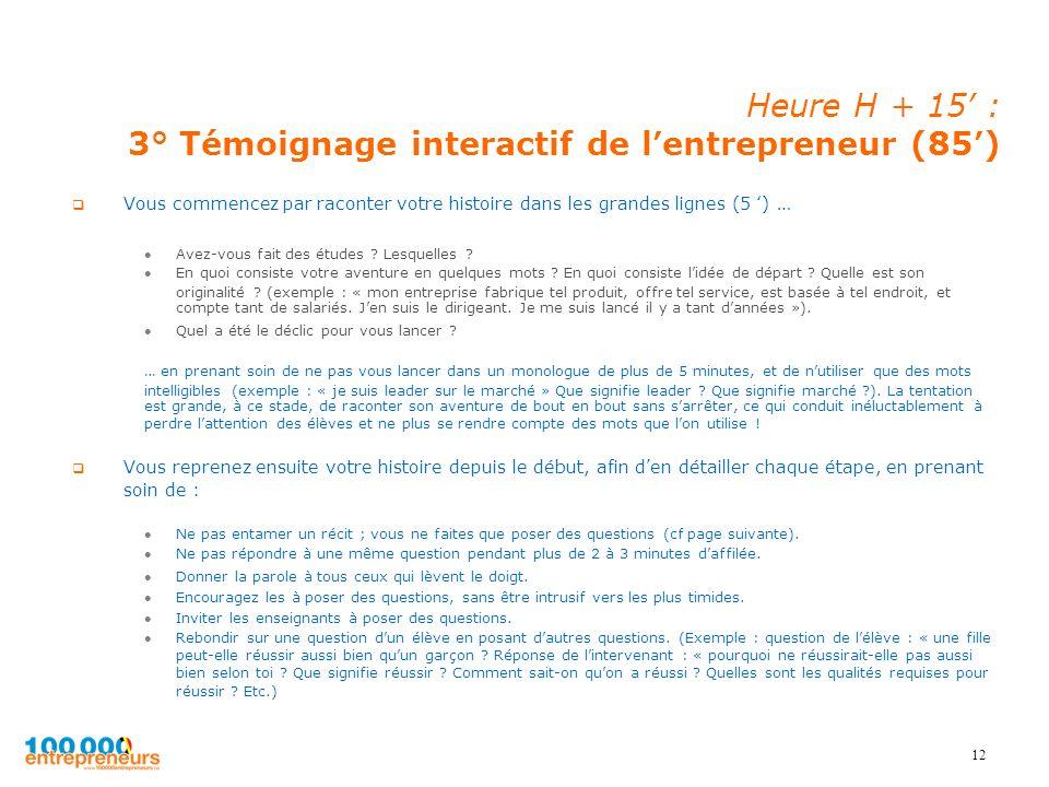 12 Heure H + 15 : 3° Témoignage interactif de lentrepreneur (85) Vous commencez par raconter votre histoire dans les grandes lignes (5 ) … Avez-vous f