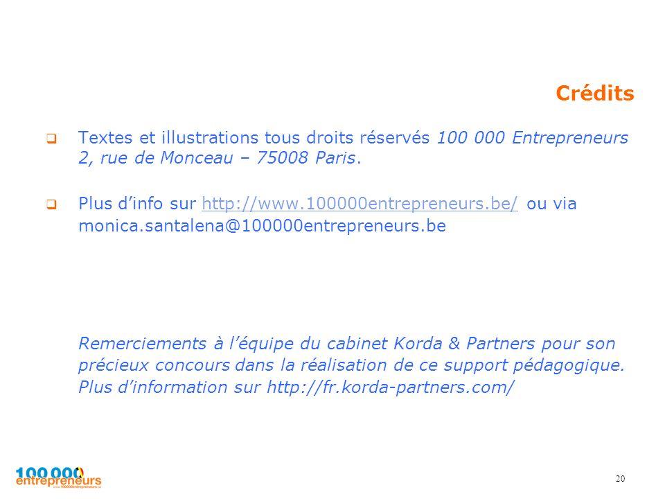 20 Crédits Textes et illustrations tous droits réservés 100 000 Entrepreneurs 2, rue de Monceau – 75008 Paris. Plus dinfo sur http://www.100000entrepr