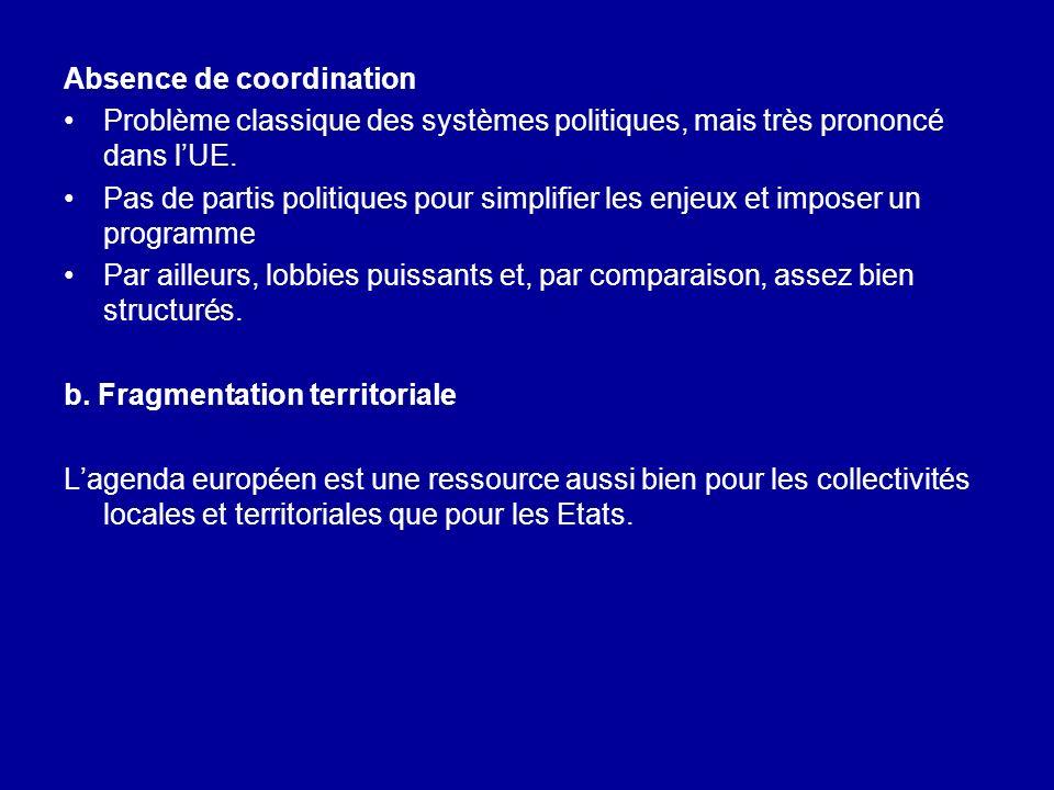 Absence de coordination Problème classique des systèmes politiques, mais très prononcé dans lUE. Pas de partis politiques pour simplifier les enjeux e