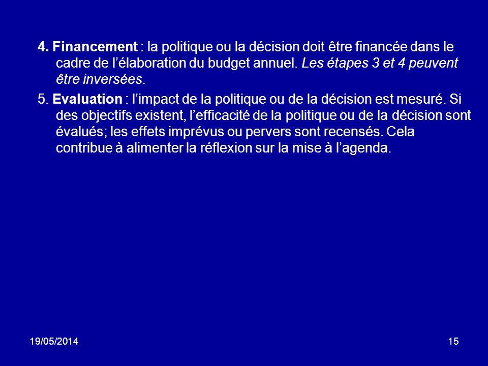 19/05/201415 4. Financement : la politique ou la décision doit être financée dans le cadre de lélaboration du budget annuel. Les étapes 3 et 4 peuvent