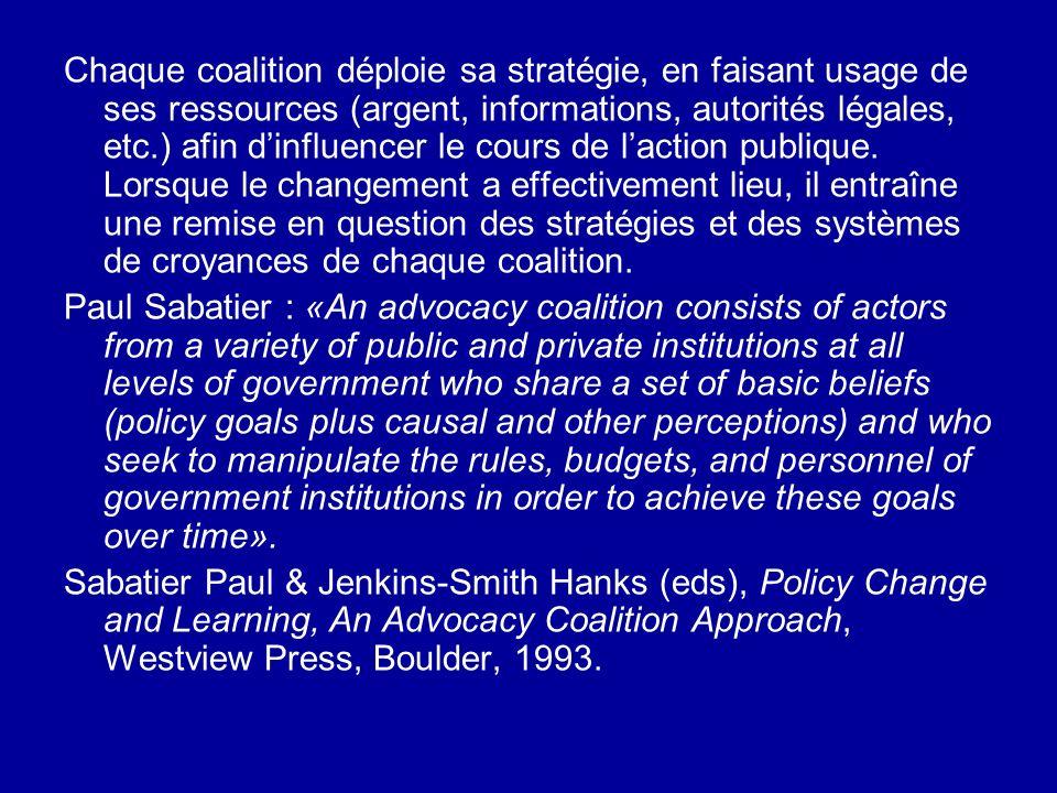 Chaque coalition déploie sa stratégie, en faisant usage de ses ressources (argent, informations, autorités légales, etc.) afin dinfluencer le cours de