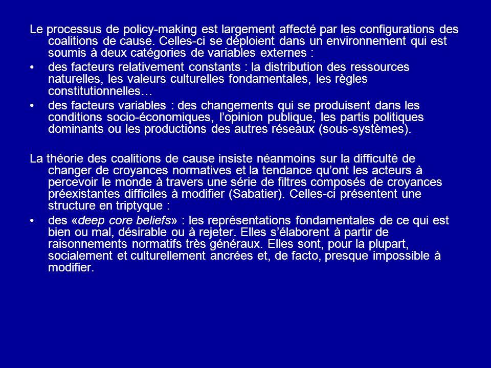 Le processus de policy-making est largement affecté par les configurations des coalitions de cause. Celles-ci se déploient dans un environnement qui e