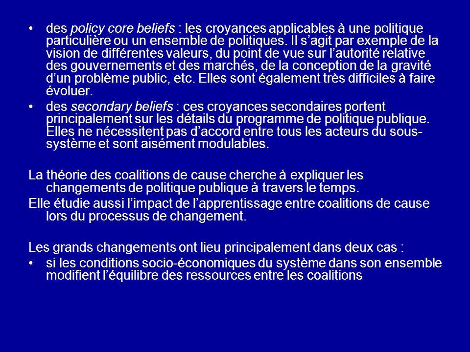 des policy core beliefs : les croyances applicables à une politique particulière ou un ensemble de politiques. Il sagit par exemple de la vision de di