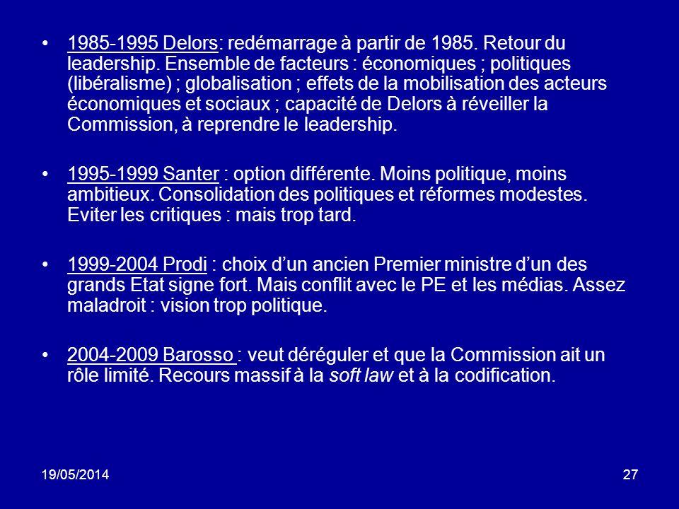 19/05/201427 1985-1995 Delors: redémarrage à partir de 1985. Retour du leadership. Ensemble de facteurs : économiques ; politiques (libéralisme) ; glo
