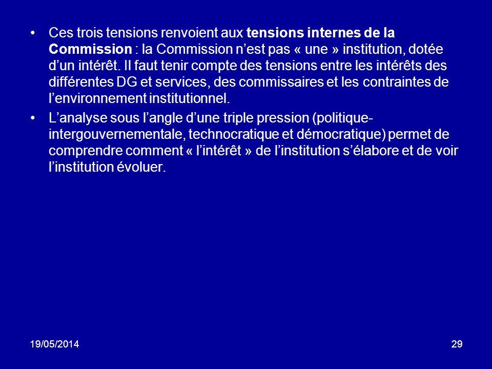 19/05/201429 Ces trois tensions renvoient aux tensions internes de la Commission : la Commission nest pas « une » institution, dotée dun intérêt. Il f