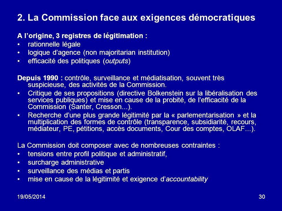 19/05/201430 2. La Commission face aux exigences démocratiques A lorigine, 3 registres de légitimation : rationnelle légale logique dagence (non major