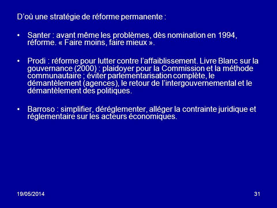 19/05/201431 Doù une stratégie de réforme permanente : Santer : avant même les problèmes, dès nomination en 1994, réforme. « Faire moins, faire mieux