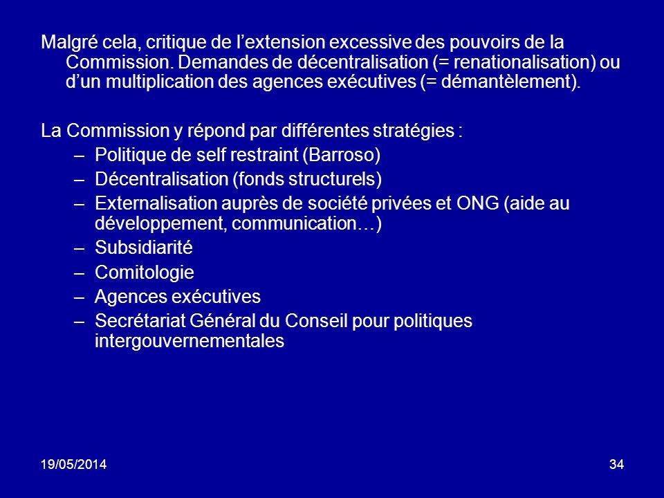 19/05/201434 Malgré cela, critique de lextension excessive des pouvoirs de la Commission. Demandes de décentralisation (= renationalisation) ou dun mu