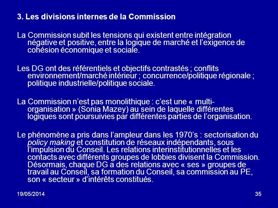 19/05/201435 3. Les divisions internes de la Commission La Commission subit les tensions qui existent entre intégration négative et positive, entre la