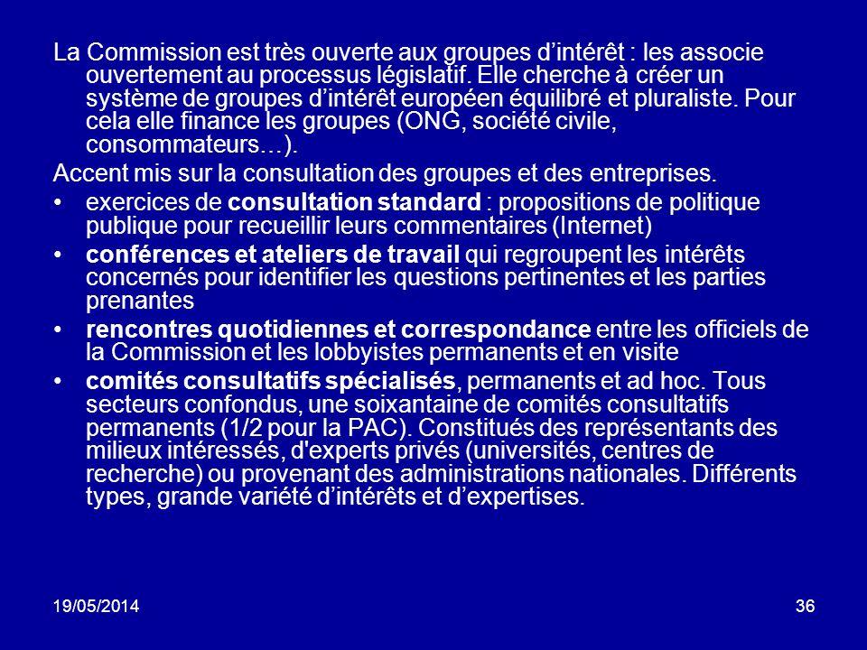 19/05/201436 La Commission est très ouverte aux groupes dintérêt : les associe ouvertement au processus législatif. Elle cherche à créer un système de