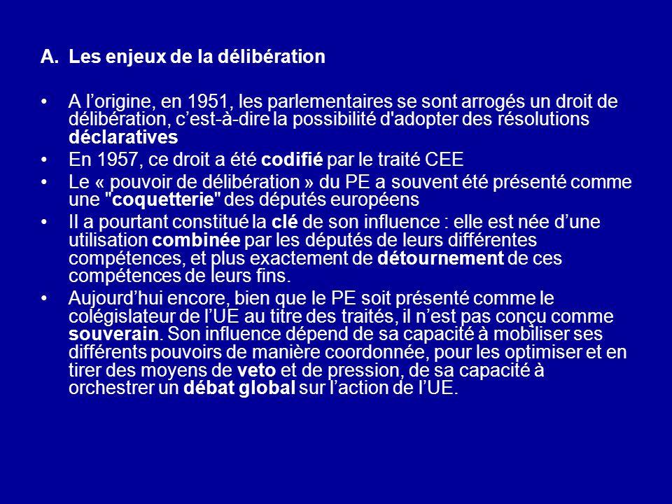 A.Les enjeux de la délibération A lorigine, en 1951, les parlementaires se sont arrogés un droit de délibération, cest-à-dire la possibilité d'adopter