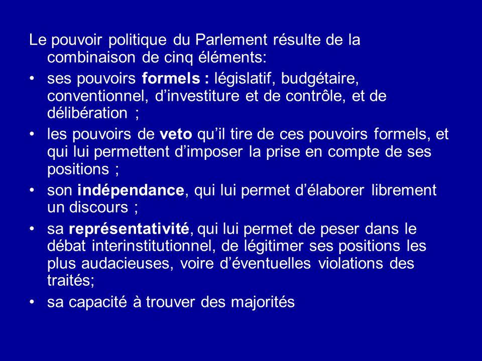 Le pouvoir politique du Parlement résulte de la combinaison de cinq éléments: ses pouvoirs formels : législatif, budgétaire, conventionnel, dinvestitu