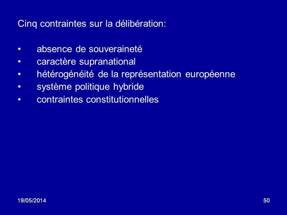 19/05/201450 Cinq contraintes sur la délibération: absence de souveraineté caractère supranational hétérogénéité de la représentation européenne systè