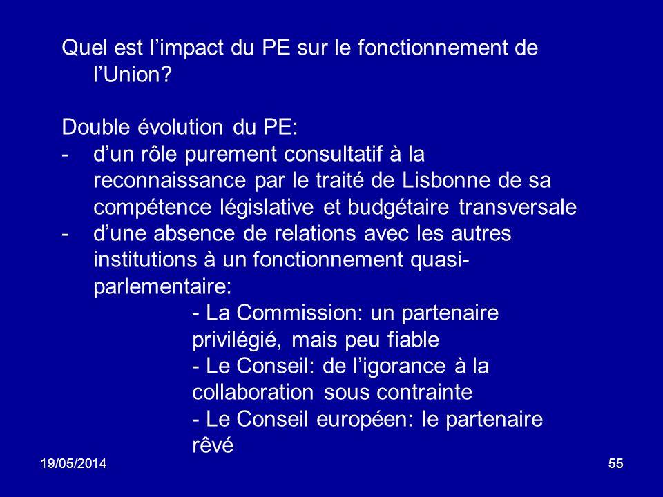 19/05/201455 Quel est limpact du PE sur le fonctionnement de lUnion? Double évolution du PE: -dun rôle purement consultatif à la reconnaissance par le