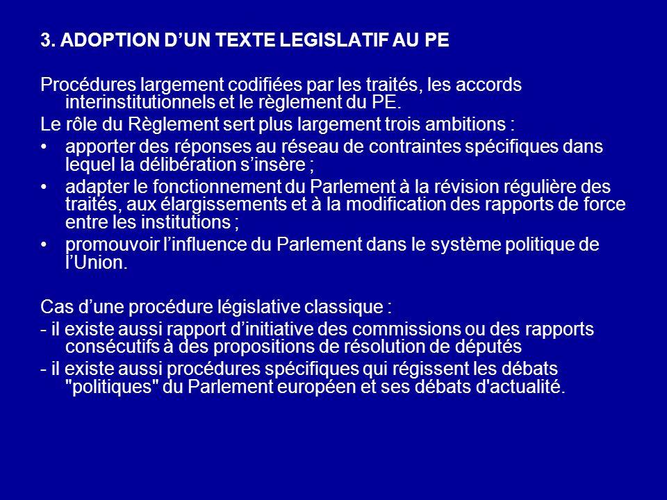 3. ADOPTION DUN TEXTE LEGISLATIF AU PE Procédures largement codifiées par les traités, les accords interinstitutionnels et le règlement du PE. Le rôle
