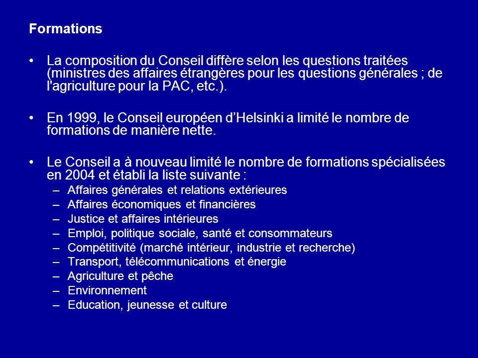 Formations La composition du Conseil diffère selon les questions traitées (ministres des affaires étrangères pour les questions générales ; de l'agric