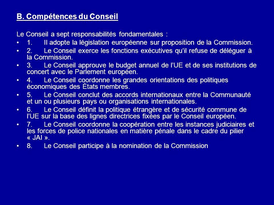 B. Compétences du Conseil Le Conseil a sept responsabilités fondamentales : 1.Il adopte la législation européenne sur proposition de la Commission. 2.