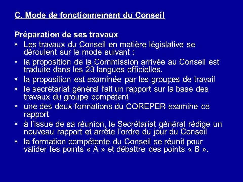 C. Mode de fonctionnement du Conseil Préparation de ses travaux Les travaux du Conseil en matière législative se déroulent sur le mode suivant : la pr