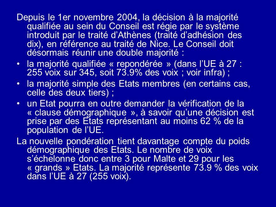 Depuis le 1er novembre 2004, la décision à la majorité qualifiée au sein du Conseil est régie par le système introduit par le traité dAthènes (traité