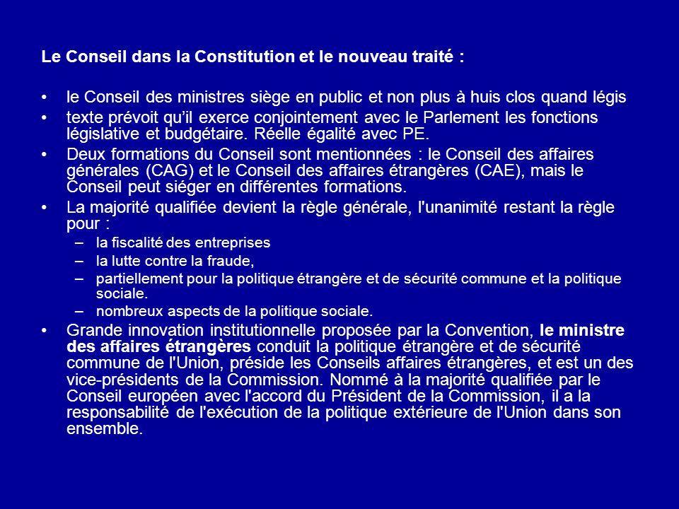 Le Conseil dans la Constitution et le nouveau traité : le Conseil des ministres siège en public et non plus à huis clos quand légis texte prévoit quil
