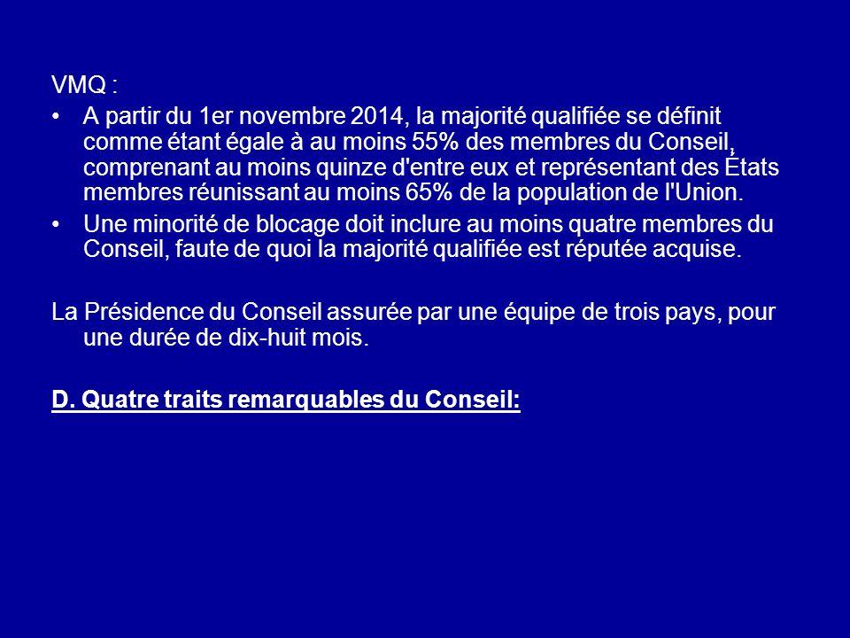 VMQ : A partir du 1er novembre 2014, la majorité qualifiée se définit comme étant égale à au moins 55% des membres du Conseil, comprenant au moins qui