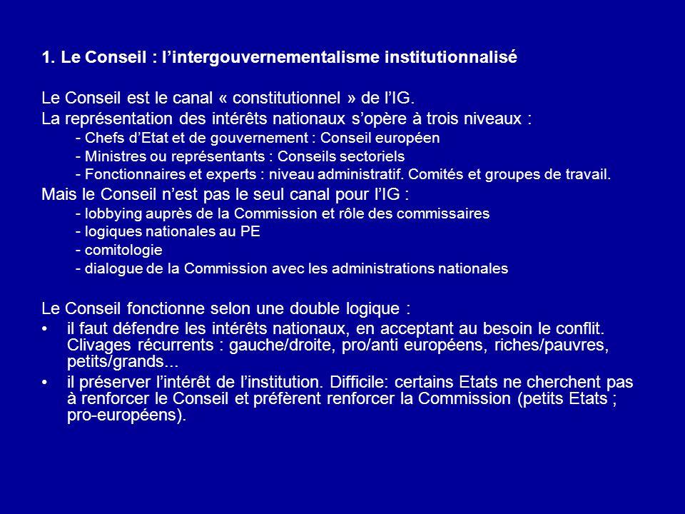 1. Le Conseil : lintergouvernementalisme institutionnalisé Le Conseil est le canal « constitutionnel » de lIG. La représentation des intérêts nationau