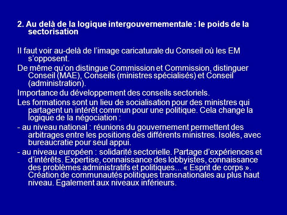 2. Au delà de la logique intergouvernementale : le poids de la sectorisation Il faut voir au-delà de limage caricaturale du Conseil où les EM sopposen