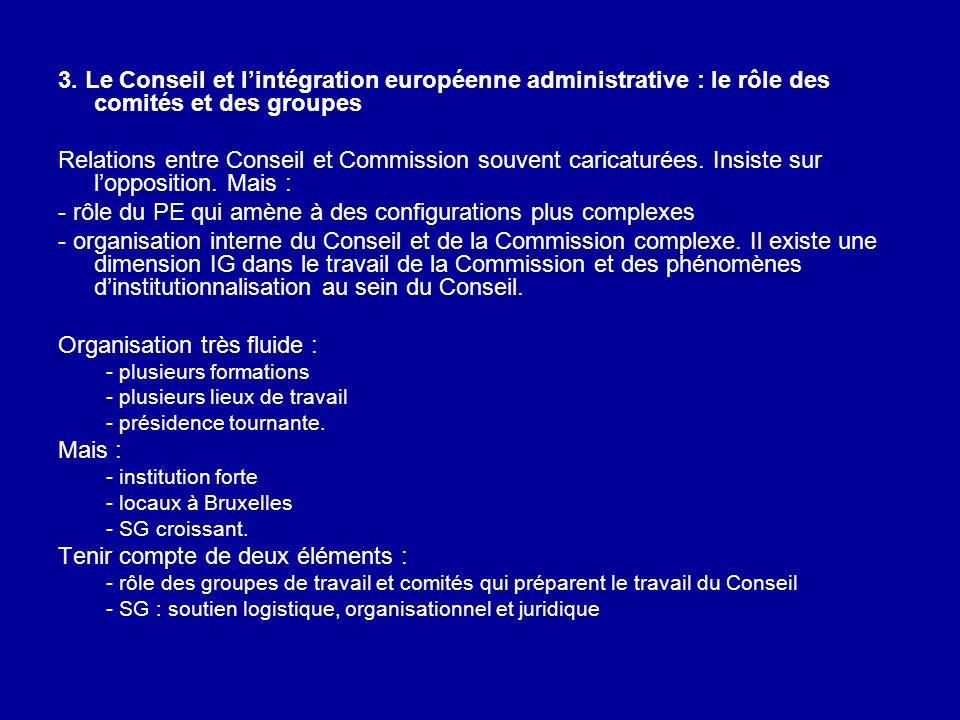 3. Le Conseil et lintégration européenne administrative : le rôle des comités et des groupes Relations entre Conseil et Commission souvent caricaturée