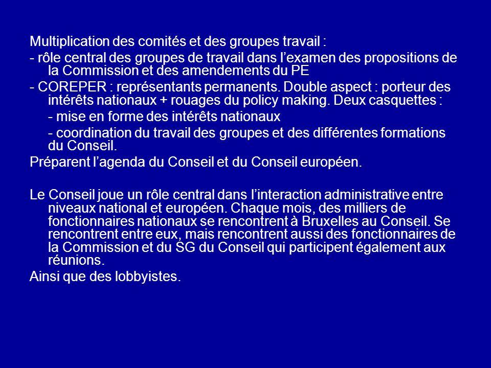 Multiplication des comités et des groupes travail : - rôle central des groupes de travail dans lexamen des propositions de la Commission et des amende