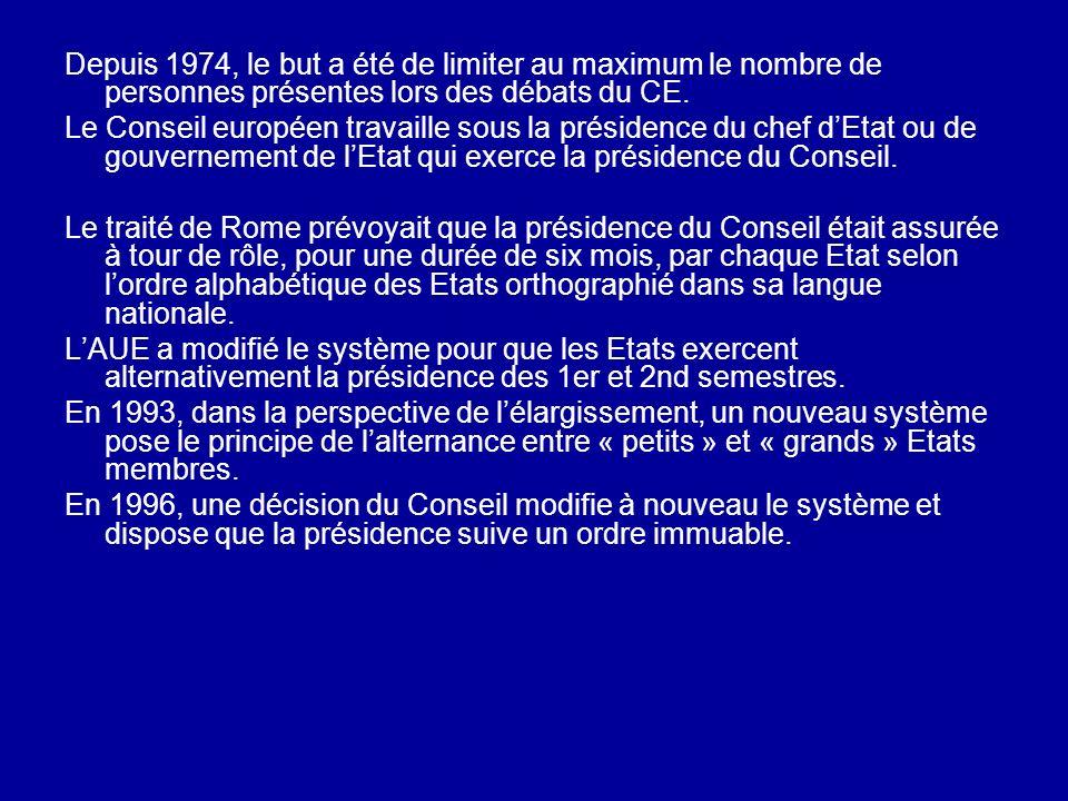 Depuis 1974, le but a été de limiter au maximum le nombre de personnes présentes lors des débats du CE. Le Conseil européen travaille sous la présiden