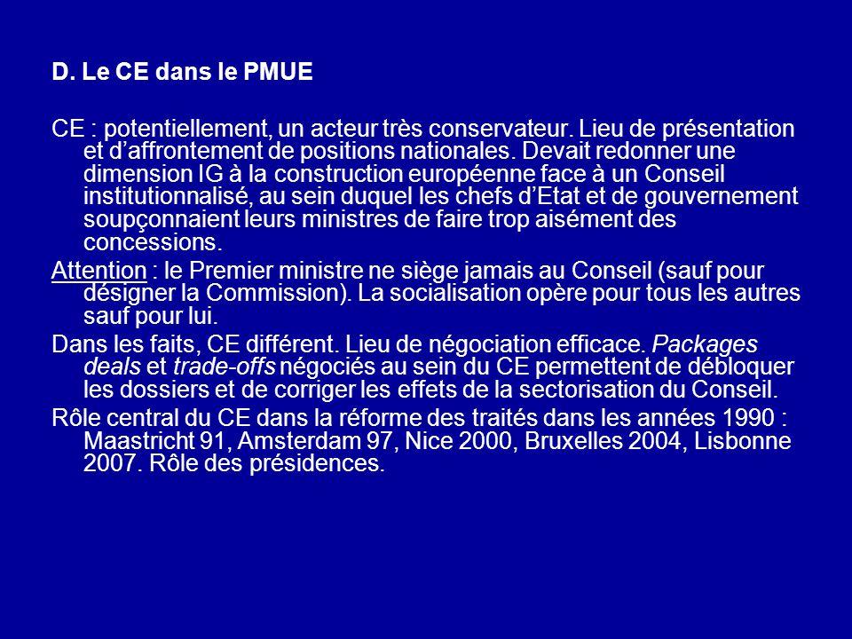 D. Le CE dans le PMUE CE : potentiellement, un acteur très conservateur. Lieu de présentation et daffrontement de positions nationales. Devait redonne