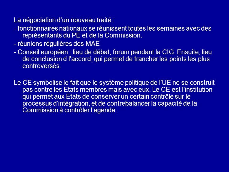 La négociation dun nouveau traité : - fonctionnaires nationaux se réunissent toutes les semaines avec des représentants du PE et de la Commission. - r