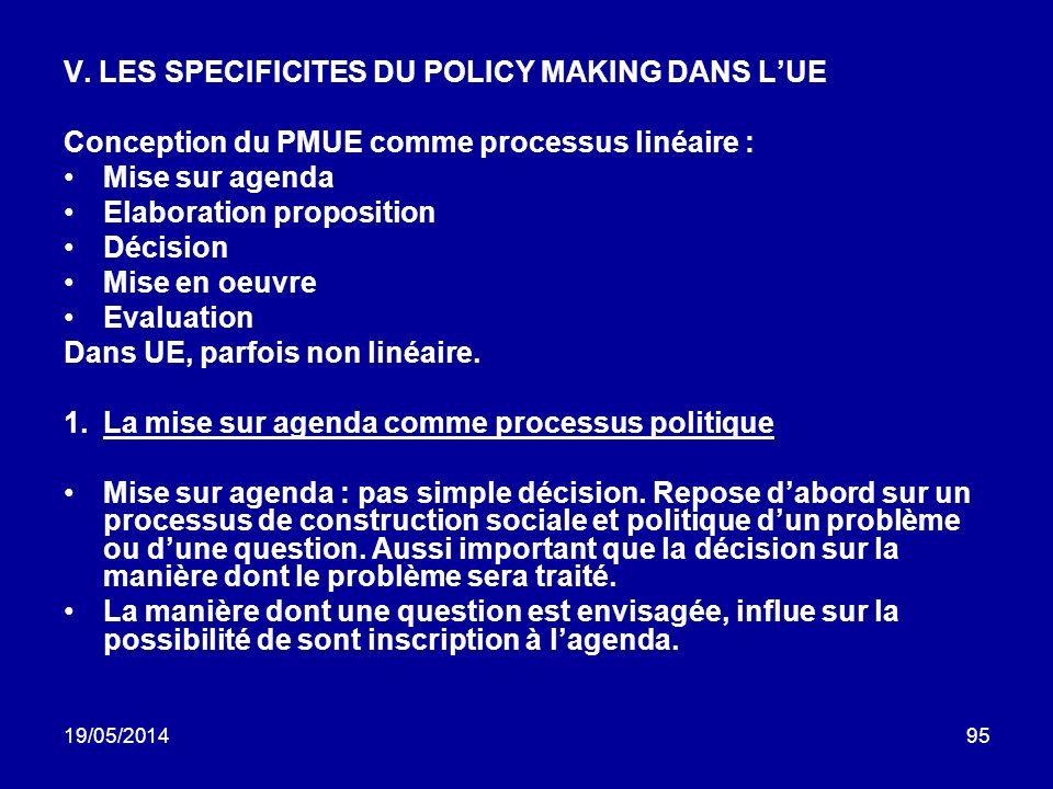 19/05/201495 V. LES SPECIFICITES DU POLICY MAKING DANS LUE Conception du PMUE comme processus linéaire : Mise sur agenda Elaboration proposition Décis