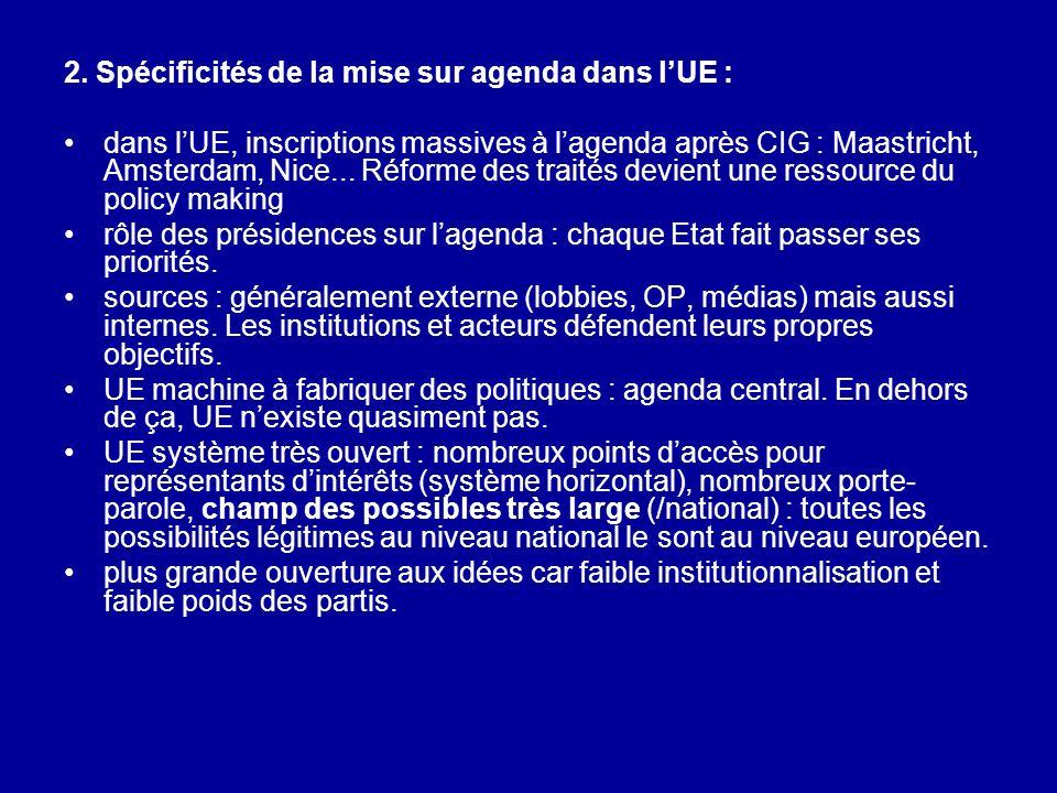 2. Spécificités de la mise sur agenda dans lUE : dans lUE, inscriptions massives à lagenda après CIG : Maastricht, Amsterdam, Nice... Réforme des trai