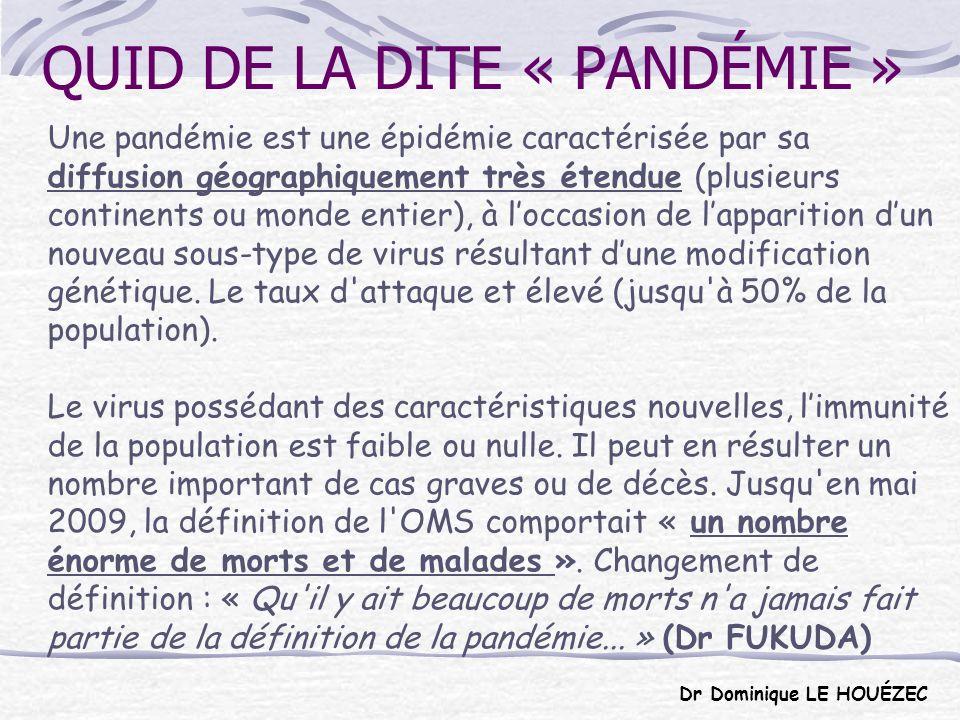 PANDÉMIES GRIPPALES Au XXe siècle on a dénombré trois pandémies grippales : En 1918-1919, la pandémie dite de la grippe espagnole (virus A/H1N1) a touché le monde entier.