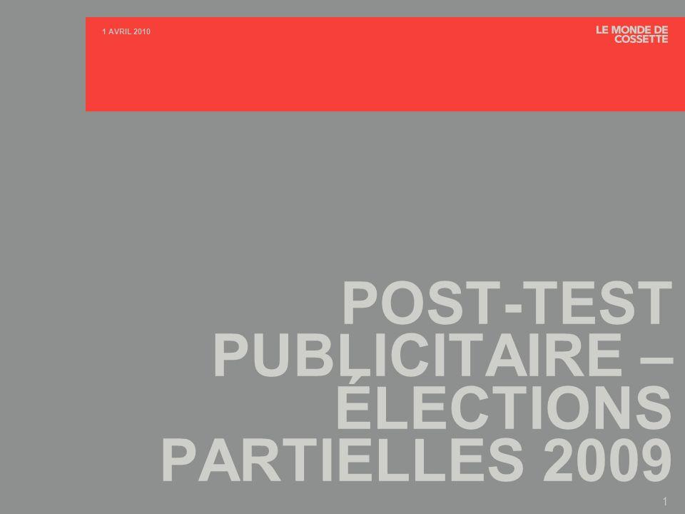 POST-TEST PUBLICITAIRE - ÉLECTIONS PARTIELLES 2009 2 1 AVRIL 2010 TABLE DES MATIÈRES PAGE A.