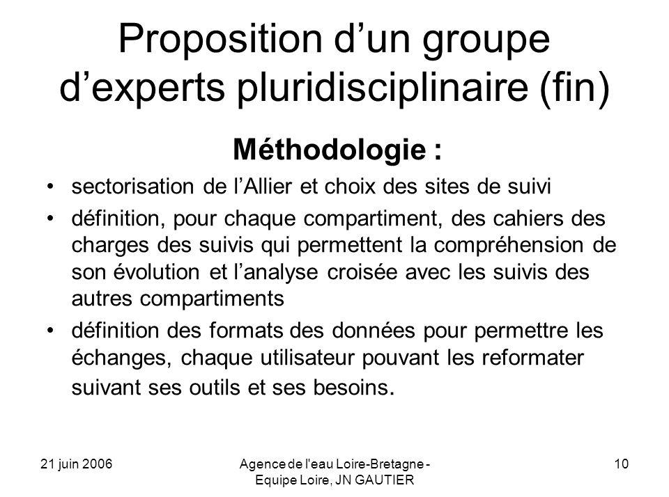 21 juin 2006Agence de l'eau Loire-Bretagne - Equipe Loire, JN GAUTIER 10 Proposition dun groupe dexperts pluridisciplinaire (fin) Méthodologie : secto