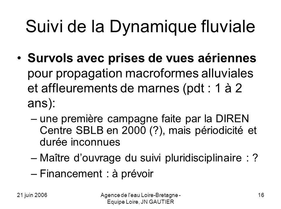 21 juin 2006Agence de l eau Loire-Bretagne - Equipe Loire, JN GAUTIER 16 Suivi de la Dynamique fluviale Survols avec prises de vues aériennes pour propagation macroformes alluviales et affleurements de marnes (pdt : 1 à 2 ans): –une première campagne faite par la DIREN Centre SBLB en 2000 ( ), mais périodicité et durée inconnues –Maître douvrage du suivi pluridisciplinaire : .
