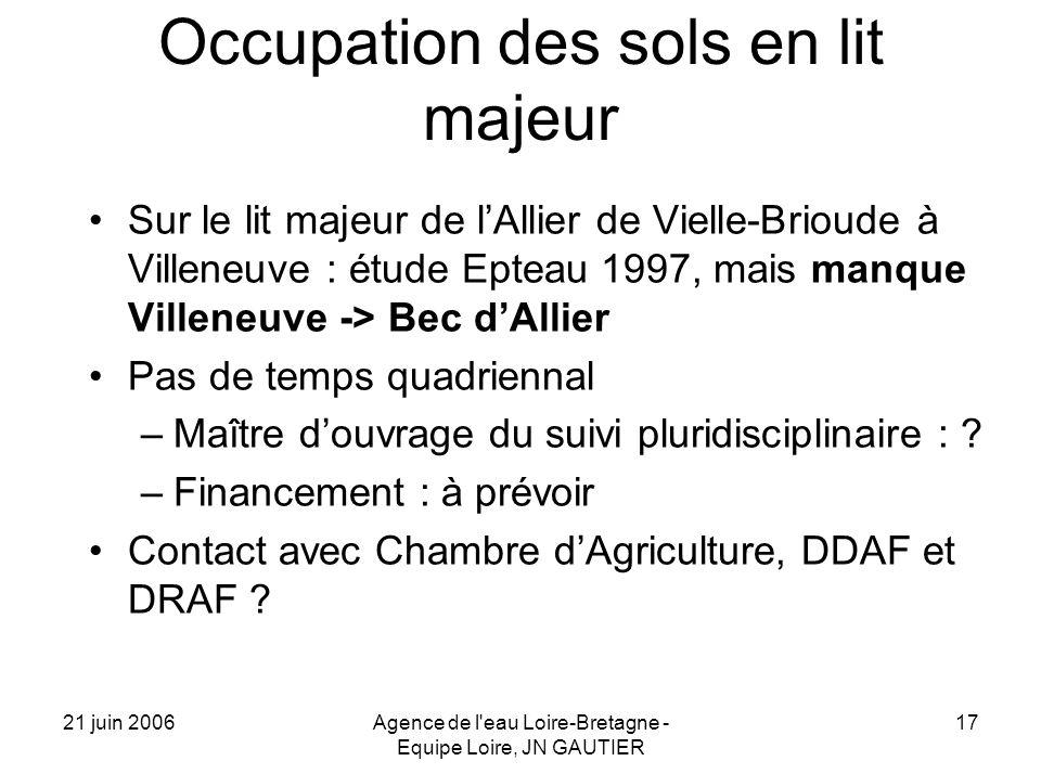 21 juin 2006Agence de l'eau Loire-Bretagne - Equipe Loire, JN GAUTIER 17 Occupation des sols en lit majeur Sur le lit majeur de lAllier de Vielle-Brio