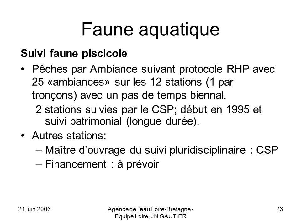 21 juin 2006Agence de l eau Loire-Bretagne - Equipe Loire, JN GAUTIER 23 Faune aquatique Suivi faune piscicole Pêches par Ambiance suivant protocole RHP avec 25 «ambiances» sur les 12 stations (1 par tronçons) avec un pas de temps biennal.