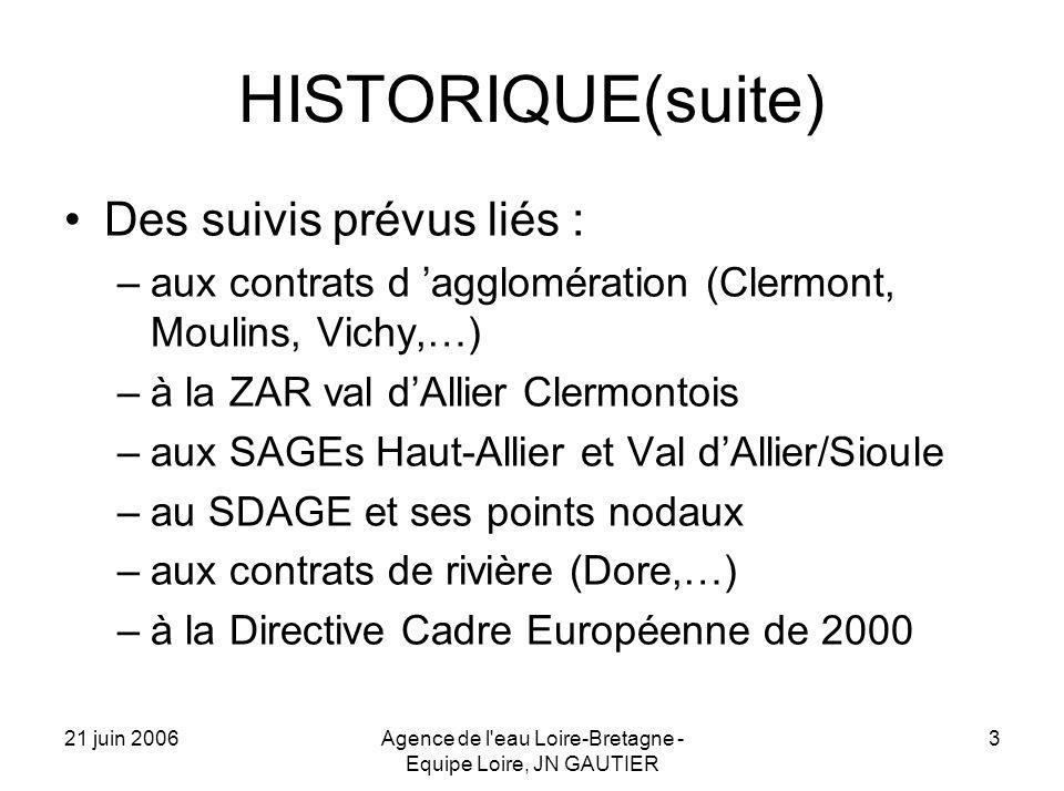 21 juin 2006Agence de l eau Loire-Bretagne - Equipe Loire, JN GAUTIER 3 HISTORIQUE(suite) Des suivis prévus liés : –aux contrats d agglomération (Clermont, Moulins, Vichy,…) –à la ZAR val dAllier Clermontois –aux SAGEs Haut-Allier et Val dAllier/Sioule –au SDAGE et ses points nodaux –aux contrats de rivière (Dore,…) –à la Directive Cadre Européenne de 2000