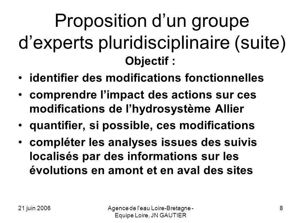 21 juin 2006Agence de l'eau Loire-Bretagne - Equipe Loire, JN GAUTIER 8 Proposition dun groupe dexperts pluridisciplinaire (suite) Objectif : identifi