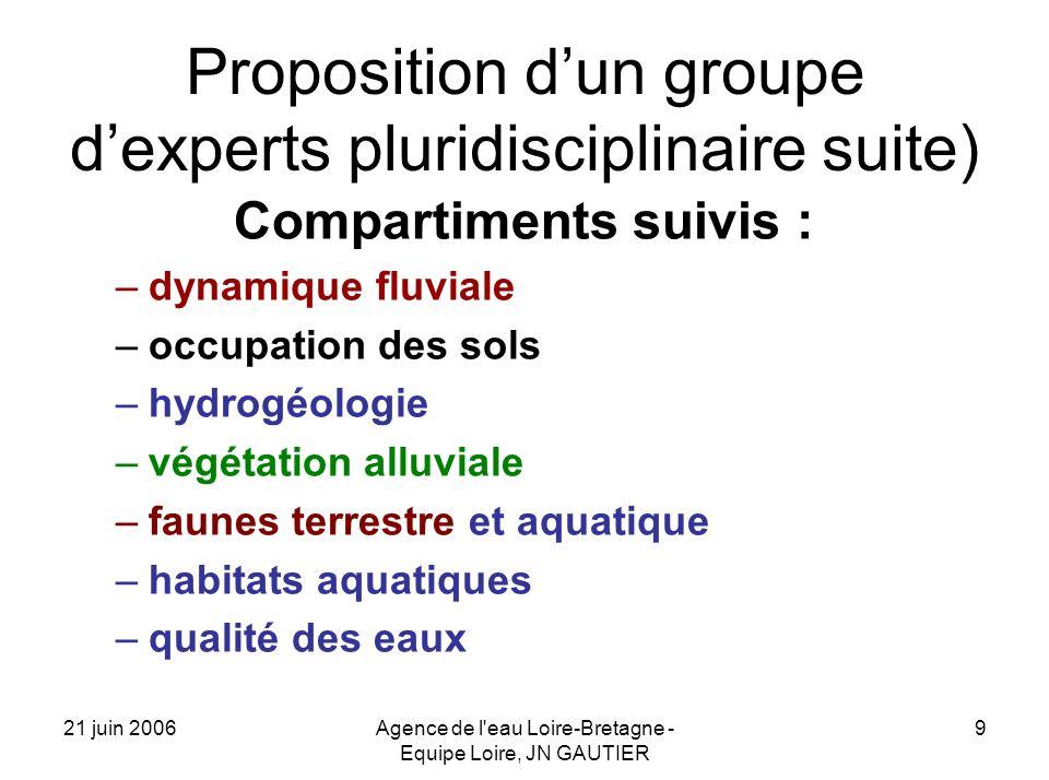 21 juin 2006Agence de l'eau Loire-Bretagne - Equipe Loire, JN GAUTIER 9 Proposition dun groupe dexperts pluridisciplinaire suite) Compartiments suivis