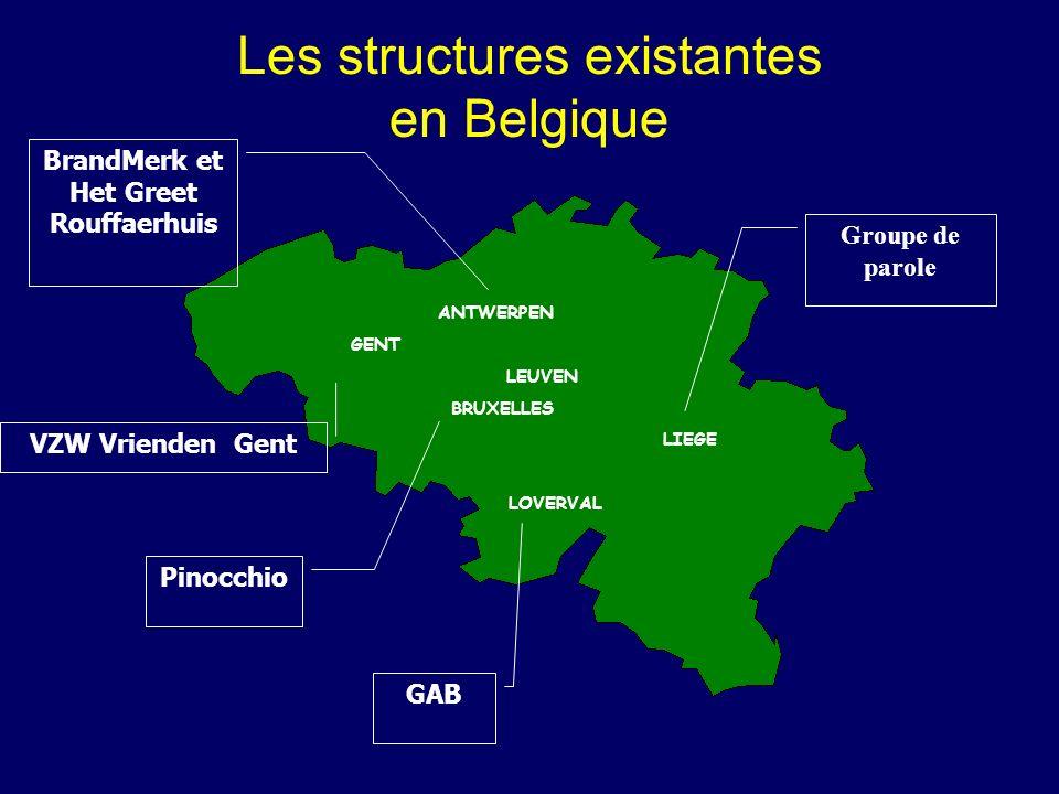 Les structures existantes en Belgique ANTWERPEN GENT LEUVEN BRUXELLES LIEGE LOVERVAL Groupe de parole VZW Vrienden Gent Pinocchio BrandMerk et Het Gre