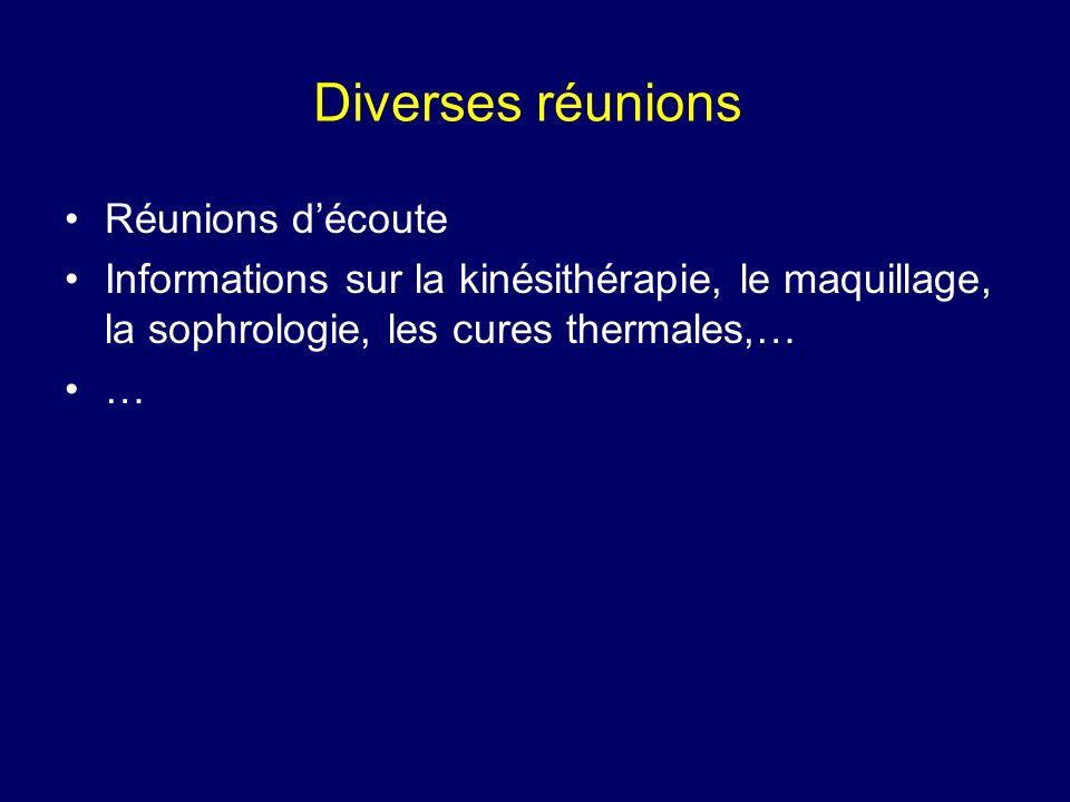 Diverses réunions Réunions découte Informations sur la kinésithérapie, le maquillage, la sophrologie, les cures thermales,… …