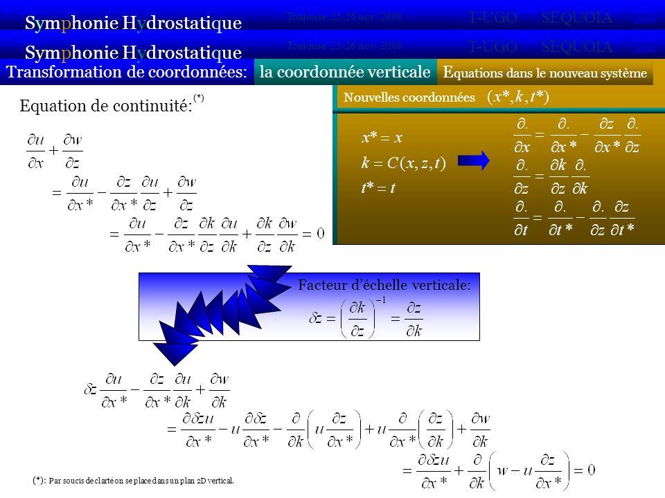 Nouvelles coordonnées E quations dans le nouveau système la coordonnée verticaleTransformation de coordonnées: Symphonie Hydrostatique 2007 2008 POC VIFOP Sirocco Toulouse 25-26 nov.