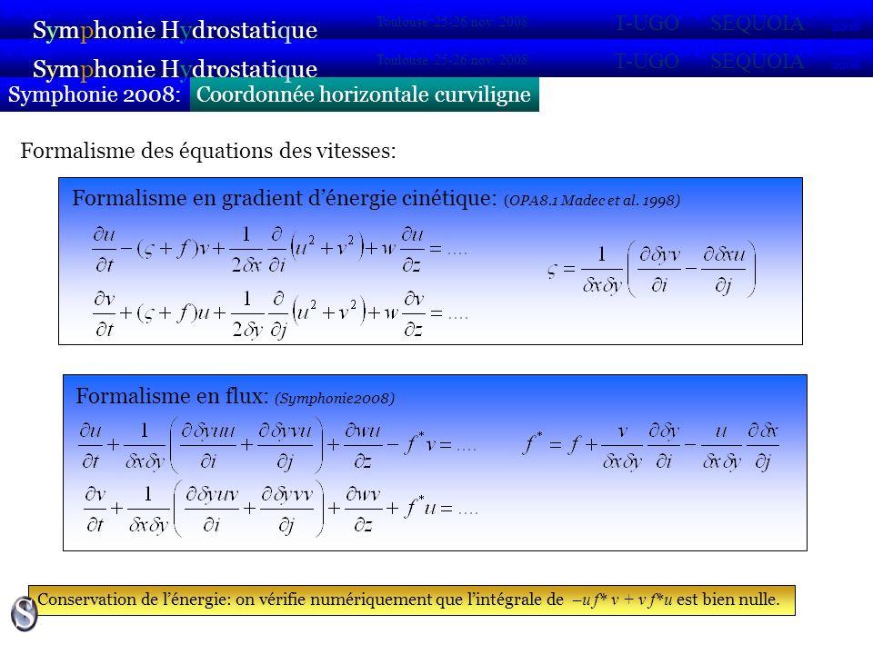 Coordonnée horizontale curviligne & verticale généraliséeSymphonie 2008: Symphonie Hydrostatique 2007 2008 POC VIFOP Sirocco Toulouse 25-26 nov.