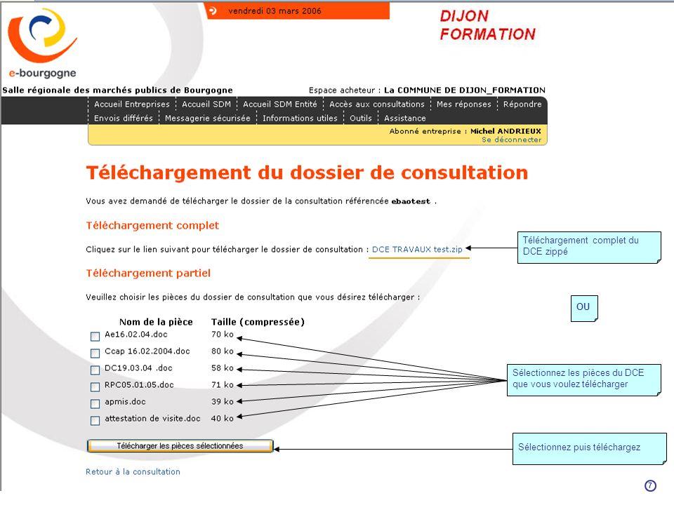 Téléchargement complet du DCE zippé Sélectionnez les pièces du DCE que vous voulez télécharger OU Sélectionnez puis téléchargez 7