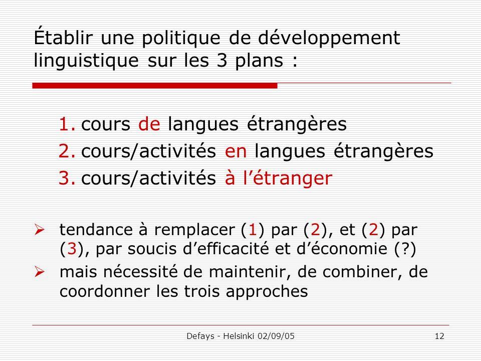 Defays - Helsinki 02/09/0512 Établir une politique de développement linguistique sur les 3 plans : 1.cours de langues étrangères 2.cours/activités en
